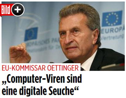 Screenshot Bild.de -- EU-Kommissar Oettinger: 'Computer-Viren sind eine digitale Seuche'