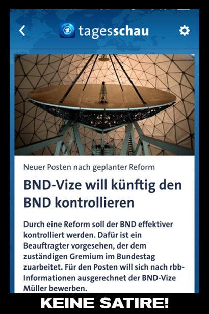Screenshot einer Schlagzeile von tagesschau.de -- Neuer Posten nach geplanter Reform: BND-Vize will künftig den BND kontrollieren