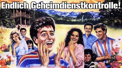 Kitschiges Bild völlig begeisterter Menschen in einer kitisch-idyllischen Landschaft aus einem Wachtturm der Zeugen Jehovas. Dazu der Text: Endlich Geheimdienstkontrolle!