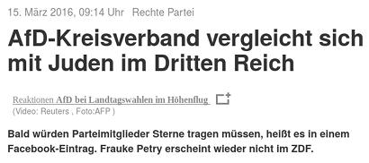 15. März 2014, 9:14 Uhr -- Rechte Partei -- AfD-Kreisverband vergleicht sich mit Juden im Dritten Reich -- Bald würden Parteimitglieder Sterne tragen müssen, heißt es in einem Facebook-Eintrag. Frauke Petry erscheint wieder nicht im ZDF.