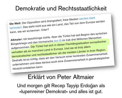 Screenshot eines Interviews der springerschen Welt mit Bundesminister Peter Altmaier -- Die Welt: Die Opposition wird drangsaliert, freie Medien werden stark behindert. Das sieht nicht aus wie ein Land, das Teil von dem Europa werden kann, wie wir es kennen. Oder? -- Altmaier: Ich beschönige nichts. Aber die Türkei hat seit Beginn des syrischen Bürgerkriegs und des Vormarschs des IS im Irak drei Millionen Menschen aufgenommen. Die Türkei hat sich in dieser Flüchtlingssituation europäischer verhalten als so manches Land in Europa. Und sie ist trotz allem demokratischer und rechtsstaatlicher als die meisten Länder in ihrer Region. Deshalb ist es richtig, dass wir den Versuch einer konkreten Zusammenarbeit unternehmen und dass daraus auch eine Zusammenarbeit in geostrategischer Hinsicht entstehen kann. -- Dazu der Text: Demokratie und Rechtsstaatlichkeit, erklärt von Peter Altmaier. Und morgen gilt Recep Tayyip Erdoğan als 'lupenreiner Demokrat' und alles ist gut.