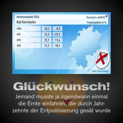 Ein Wahlergebnis der Kommunalwahl in Hessen -- FWG 38,3%; AfD 22,3%; SPD 22,1%; CDU 17,2% -- Glückwunsch! -- Jemand musste ja irgendwann einmal die Ernte einfahren, die durch Jahrzehnte der Entpolitisierung gesät wurde