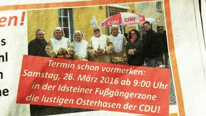 Werbeanzeige in einer Zeitung -- Termin schon vormerken: Samstag, 26. März 2016 ab 9:00 Uhr in der Idsteiner Fußgängerzone die lustigen Osterhasen der CDU!