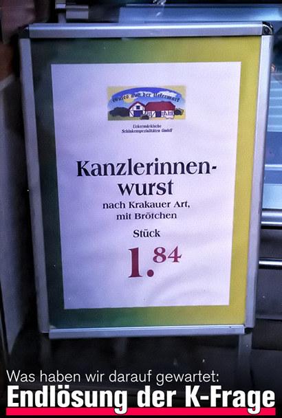 Kanzlerinnenwurst, nach Krakauer Art, mit Brötchen, €1,84