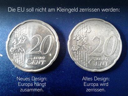 Das Design der neuen (aktuellen) 20-Cent-Münze und der alten 20-Cent-Münze nebeneinander. Die Unterschiede der neuen Münze: Der Bereich mit der Wertziffer ist jetzt etwas rauh und leicht erhöht, die Länder Europas sind nicht mehr an den Staatsgrenzen auseinandergezogen. Dazu der Text: 'Die EU soll nicht am Kleingeld zerrissen werden -- Neues Design: Europa hängt zusammen. -- Altes Design: Europa wird zerrissen.'