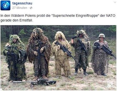 Tagesschau-Meldung: In den Wäldern Polens probt die 'Superschnelle Eingreiftruppe' der NATO gerade den Ernstfall. -- Darunter ein ausgesprochen peinliches und lächerliches Foto getarnter Soldaten