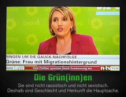 Screenshot n-tv-Nachrichten -- Ringen um die Gauck-Nachfolge -- Grüne: Frau mit Migrationshintergrund -- Dazu der Text: 'Die Grün(inn)en -- Sie sind nicht rassistisch und nicht sexistisch. Deshalb sind Geschlecht und Herkunft die Hauptsache'.