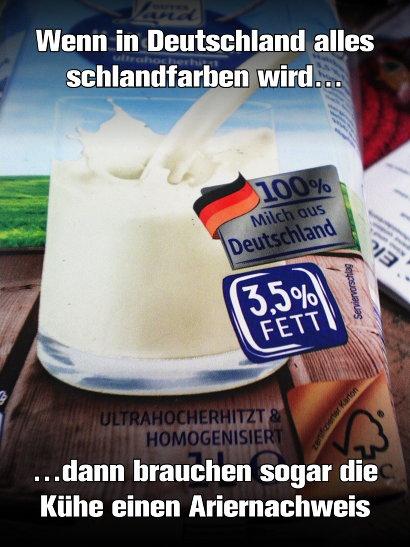 Milchpackung mit Aufdruck '100% Milch aus Deutschland'. Dazu der Text: 'Wenn in Deutschland alles schlandfarben wird, dann brauchen sogar die Kühe einen Ariernachweis'.
