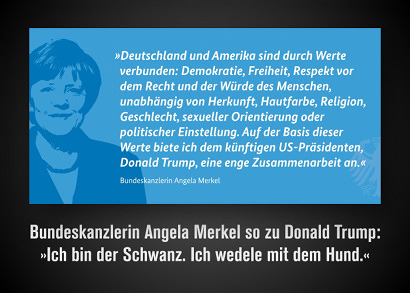 Bild aus einem Tweet des Regierungssprechers Steffen Seibert. Neben einer schematischen Darstellung von Angela Merkel der Text: 'Deutschland und Amerika sind durch Werte verbunden. Demokratie, Freiheit, Respekt vor dem Recht und vor der Würde des Menschen, unabhängig von Herkunft, Hautfarbe, Religion, Geschlecht, sexueller Orientierung oder politischer Einstellung. Auf der Basis dieser Werte biete ich dem künftigen US-Präsidenten, Donald Trump, eine enge Zusammenarbeit an. Angela Merkel