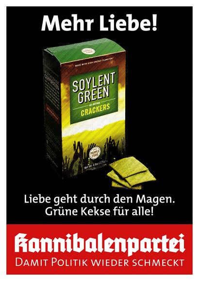Mehr Liebe! -- Abbildung einer Packung 'Soylent Green' nebst einiger grüner Kekse -- Liebe geht durch den Magen. Grüne Kekse für alle! -- Kannibalenpartei -- Damit Politik wieder schmeckt