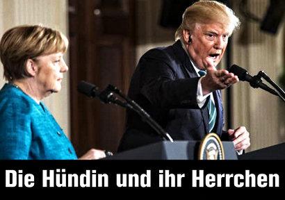 Schnappschuss aus der heutigen Pressekonferenz anlässlich des Staatsbesuches von Angela Merkel beim US-Präsidenten Donald Trump. Darunter der Text 'Die Hündin und ihr Herrchen'.