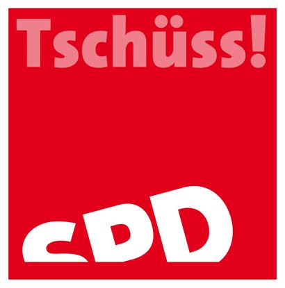 Satirische Bearbeitung des SPD-Logos. Der Schriftzug 'SPD' ist im Sinken begriffen, wie ein dümpelndes Wrack auf dem Wasser. Darüber steht das Wort 'Tschüss!'.