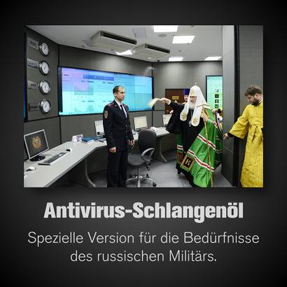 Foto eines Priester der russisch-orthodoxen Kirche, der Computer beim russischen Militär mit Weihwasser besprenkelt. Dazu der Text: 'Antivirus-Schlangenöl -- Spezielle Version für die Bedürfnisse des russischen Militärs'.