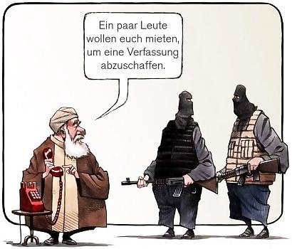 Ein Anführer hat den Hörer eines roten Telefones in der Hand und sagt zu zwei Terroristen in Kampfmontur: Ein paar Leute wollen euch mieten, um eine Verfassung abzuschaffen.