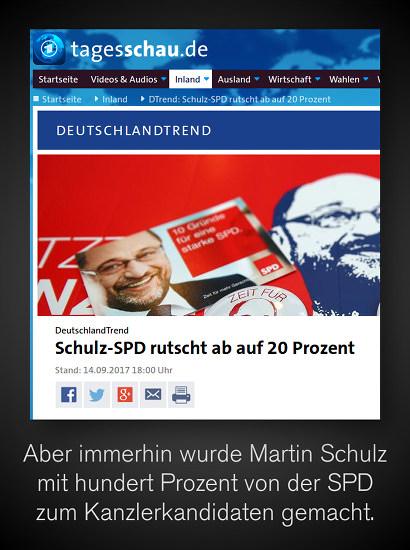 Screenshot Tagesschau -- DeutschlandTrend, Stand: 14.09.2017, 18:00 Uhr -- DeutschlandTrend: Schulz-SPD rutscht ab auf 20 Prozent