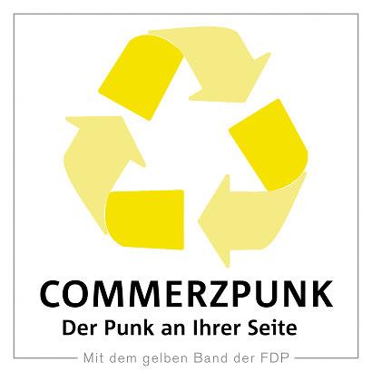 Im ungefähren Farbton des Commerzbank-Logos eingefärbtes Recycling-Symbol (verblüffend formähnlich). Dazu der Text: Commerzpunk. Der Punk an ihrer Seite. Mit dem gelben Band der FDP.