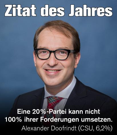 Foto von Alexander Dobrindt -- Zitat des Tages -- Eine 20%-Partei kann nicht 100% ihrer Forderungen umsetzen. -- Alexander Doofrindt (CSU, 6,2%)