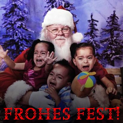 Bild eines Weihnachtsmannes, der sichtbar verängstigte Kinder hält. Dazu der Text: Frohes Fest!