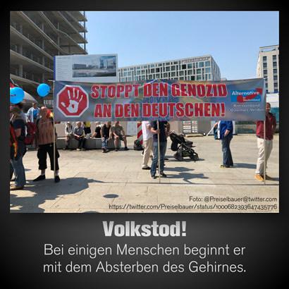Foto von einer AfD-Kundgebung. Großes Transparent: STOPPT DEN GENOZID AN DEN DEUTSCHEN! -- Dazu mein Text: Volkstod: Bei einigen Menschen beginnt er mit dem Absterben des Gehirnes.