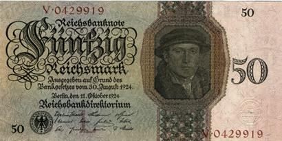 Reichsbanknote über fünfzig Reichsmark aus dem Jahr 1924