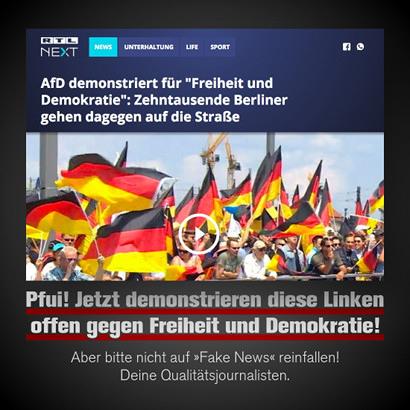 Screenshot von einer Überschrift auf RTL NEXT -- AfD demonstriert für 'Freiheit und Demokratie': Zehntausende Berliner gegen dagegen auf die Straße -- Dazu Text von mir: Pfui! Jetzt demonstrieren diese Linken offen gegen Freiheit und Demokratie! Aber bitte nicht auf Fake News reinfallen! Deine Qualitätsjournalisten.
