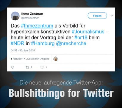 Tweet von @Ihmezentrum vom 30. Juni 2018, 04:59, abgesetzt mit Twitter für iPhone: Das #Ihmezentrum als Vorbild für hyperlokalen konstruktiven #Journalismus - heute ist der Vortrag bei der #nr18 beim #NDR in #Hamburg @nrecherche