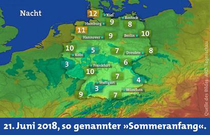 Screenshot der Wetterkarte der ARD-Tagesschau mit Nachttemperaturen, die bis auf drei Grad Celsius heruntergehen. Dazu mein Text: 21. Juni 2018, so genannter 'Sommeranfang'.