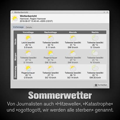 Screenshot der Wettervorhersage für die nächsten drei Tage mit durchgehend sommerlichen Temperaturen -- Dazu mein Text: Sommerwetter: Von Journalisten auch 'Hitzewelle', 'Katastrophe' und 'ogottogott, wir werden alle sterben' genannt.