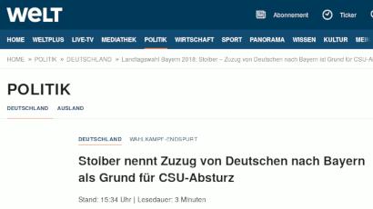 Stoiber nennt Zuzug von Deutschen nach Bayern als Grund für CSU-Absturz
