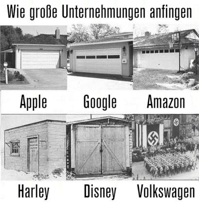 Fünf Fotos von Garagen, in denen Apple, Google, Amazon, Harley und Disney angefangen haben. Ein Foto eines Naziaufmarsches unter Hakenkreuzbannern, untertitelt mit Volkswagen.