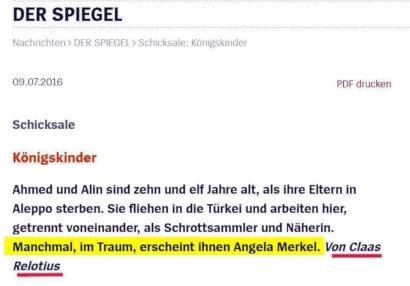 Königskinder -- Ahmed und Alin sind zehn und elf Jahre alt, als ihre Eltern in Aleppo sterben. Sie fliehen in die Türkei und arbeiten hier, getrennt voneinander, als Schrottsammler und Näherin. Manchmal, im Traum, erscheint ihnen Angela Merkel. -- Von Claas Relotius