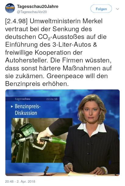 Tweet von Tagesschau20Jahre @TagesschauVor20 vom 2. April 2018, 20:48 Uhr: [2.4.98] Umweltministerin Merkel vertraut bei der Senkung des deutschen CO₂-Ausstoßes auf die Einführung des 3-Liter-Autos & freiwillige Kooperation der Autohersteller. Die Firmen wüssten, dass sonst härtere Maßnahmen auf sie zukämen. Greenpeace will den Benzinpreis erhöhen.