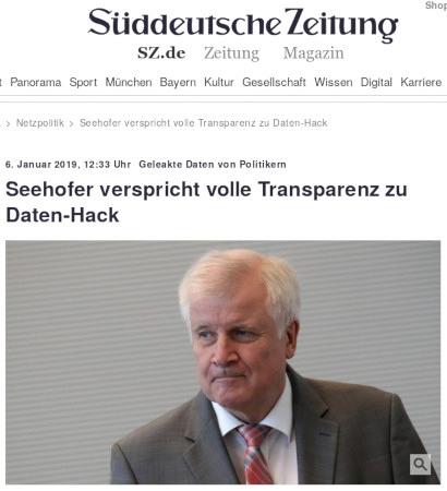 Screenshot der Website der Süddeutschen Zeitung: Geleakte Daten von Politikern: Seehofer verspricht volle Transparenz zum Daten-Hack