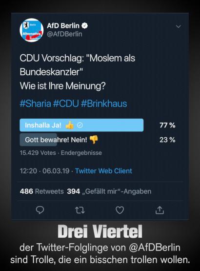 Twitterumfrage von @AfDBerlin vom 6. März 2019, 12:20 Uhr -- CDU-Vorschlag: Moslem als Bundeskanzler. Wie ist ihre Meinung? -- Inshalla Ja! 77 Prozent -- Gott bewahre! Nein! 23 Prozent -- Insgesamt 15.429 Stimmen -- Darunter mein Text: Drei Viertel der Twitter-Folglinge von @AfDBerlin sind Trolle, die ein bisschen trollen wollen.