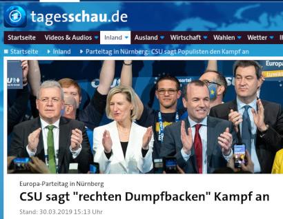 """Screenshot Tagesschau.de -- Europa-Parteitag in Nürnberg: CSU sagt """"rechten Dumpfbacken"""" Kampf an"""