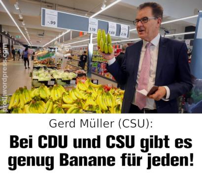 Foto: Gerd Müller (CSU) steht in einem Supermarkt und hält Bananen nach oben -- Dazu mein Text: Gerd Müller (CSU): Bei CDU und CSU gibt es genug Banane für jeden!