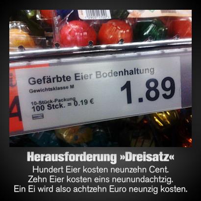 Foto eines Preisschildes in einem Aldi-Markt: Gefärbte Eier Bodenhaltung, Gewichtsklasse M, 10-Stück-Packung 1,89, 100 Stck. = 0,19 €