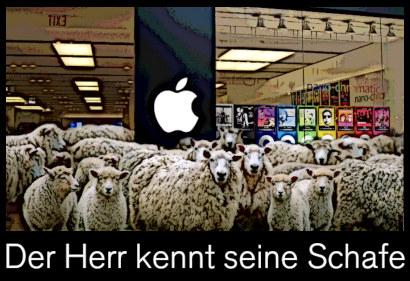 Verfremdetes Foto einer Herde Schafe vor einem Apple-Shop, dazu der Text: Der Herr kennt seine Schafe