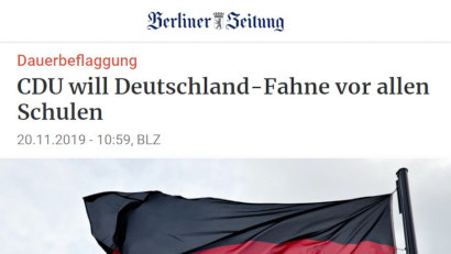 Screenshot der Website der Berliner Zeitung -- Dauerbeflaggung: CDU will Deutschland-Fahne vor allen Schulen -- 20.11.2019, 10:59 Uhr, BLZ