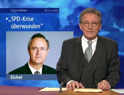 Screenshot der Tagesschau vom 28. Dezember 1999. Meldung: SPD-Krise überwunden, Foto von Hans Eichel