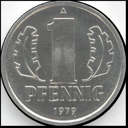 Abbildung einer 1-Pfennig-Münze aus Aluminium aus der DDR