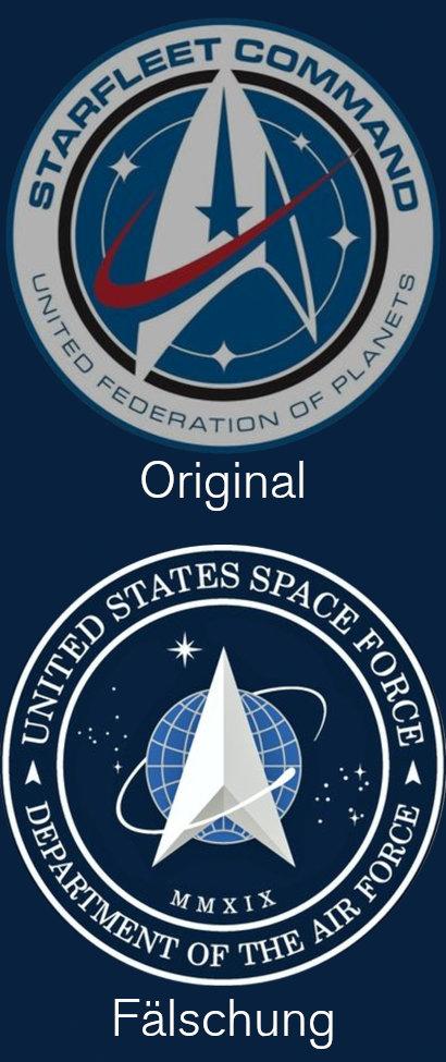 Oben das Emblem 'Starfleet Command -- United Federation of Planets, unter dem das Wort Original steht. Darunter das verblüffend ähnlich gestaltete Emblem 'United States Space Force -- Department of the Air Force', unter dem das Wort Fälschung steht.