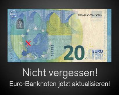Foto der Rückseite einer 20-Euro-Banknote. In der Abbildung Europas ist Großbritannien mit einem roten Stift durchgestrichen. Darunter der Text: Nicht vergessen! Euro-Banknoten jetzt aktualisieren!