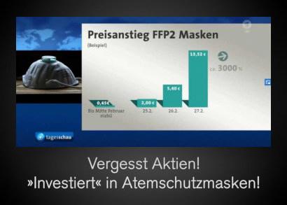 Diagramm der Preisentwicklung der Atemschutzmasken im Februar: Eine 'Wertsteigerung' um dreitausend Prozent. Darunter der Text: Vergesst Aktien! 'Investiert' in Atemschutzmasken!