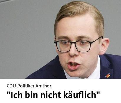 Überschrift tagesschau.de: CDU-Politiker Amthor: Ich bin nicht käuflich