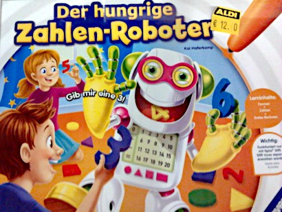 Mit Worten kaum zu beschreibene Verpackung eines Kinderspielzeugs: Der hungrige Zahlen-Roboter.