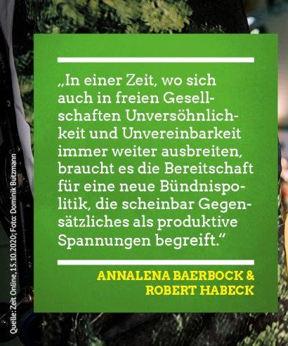 In einer Zeit, in der sich auch in freien Gesellschaften Unversöhnlichkeit und Unvereinbarkeit immer weiter ausbreiten, braucht es die Bereitschaft für eine neue Bündnispolitik, die scheinbar Gegensätzliches als produktive Spannungen begreift. Annalena Baerbock & Robert Habeck