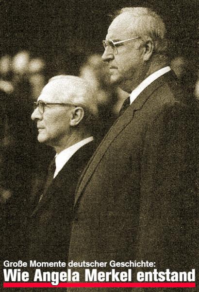 Historisches Foto von Helmut Kohl und Erich Honnecker -- Darunter der Text: Große Momente Deutscher Geschichte: Wie Angela Merkel entstand