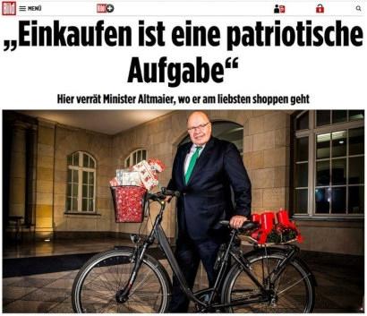 Screenshot Bild.de -- Einkaufen ist eine patriotische Aufgabe. -- Hier verrät Minister Altmaier, wo er am liebsten shoppen geht.