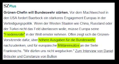 SZ Plus -- Vor dem Machtwechsel in den USA fordert Baerbock ein stärkeres Engagement in der Verteidigungspolitik. Wenn der Westen Staaten wie China, Russland oder der Türkei nicht das Feld überlassen wolle, müsse Europa seine 'Friedensrolle' in der Welt ernster nehmen. Offen zeigt sich die Grünen-Vorsitzende dafür, über höhere Ausgaben für die Bundeswehr nachzudenken, und für europäische Militäreinsätze an der Seite Frankreichs. 'Wir dürfen uns nicht wegducken'